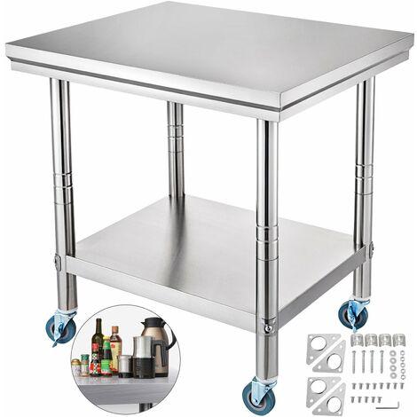 Tavolo In Acciaio Inox Banco Cucina Professionale Ristorante 76x60 cm Con Ruote