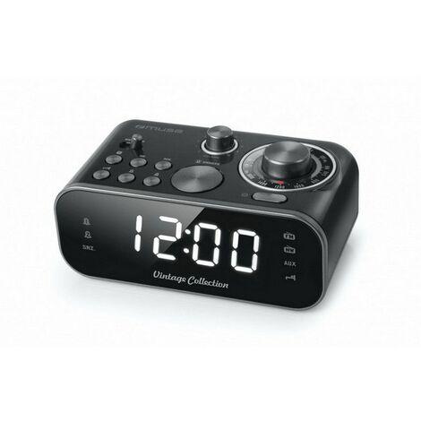 radio-réveil double alarme noir - m18crb - muse