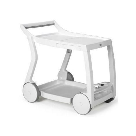 Table roulante jardin & terrasse design Galileo NARDI - Se compose de 2 tiroirs escamotables, un porte-bouteilles, quatre roulettes et une solide structure pliante.