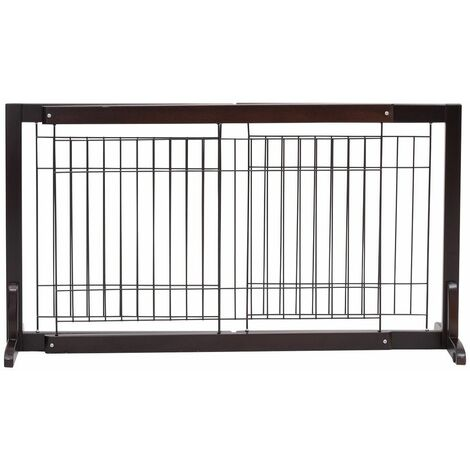 Cancello di Sicurezza Estensibile Barriera Protettiva per Cani Animali Domestici, in Legno di Pino, 97-161 x 32 x 53 cm