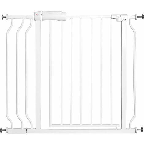 Cancelletto di sicurezza per bambini, per casa, scale, ingresso e corridoio, fissaggio a pressione, (74-98) x80cm, bianco
