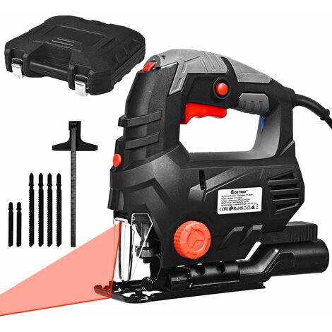 Seghetto Alternativo 800W, 3000 RPM, 5 Velocita, Taglierina Multifunzione con Laiser, Angolo di Taglio da ±45 °, per Legno e Metallo