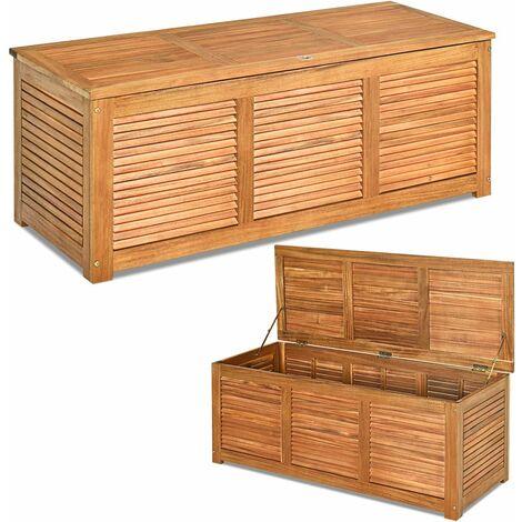 Scatola in Legno di Acacia, Panca Contenitore per Cortile e Giardino, Contenitore da Esterno per Cortile, Mobile per Cuscini e Attrezzi da Giardinaggio