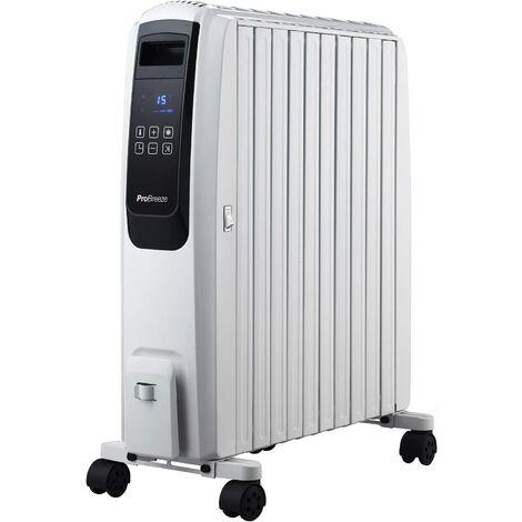 Radiateur Numérique à Bain d'Huile Mobile 2500W, 10 Colonnes, Minuteur Intégré, 4 Puissances de Chauffage, Thermostat, Télécommande Pro Breeze