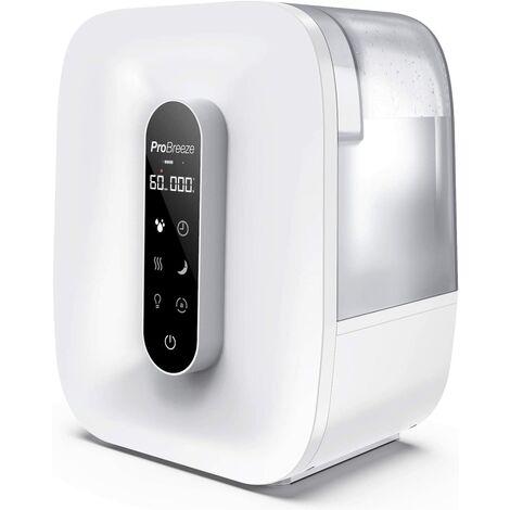 Humidificateur Ultrasonique 5,6L - Brume chaude et fraîche, Affichage LED, Capteur d'humidité, 47h d'autonomie - Pro Breeze