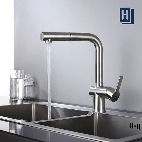 Wasserhahn Küche Spültischarmatur Ausziehbare Küchenarmatur Armatur Edelstahl mit Brause Mischbatterie Matt für Spülbecken