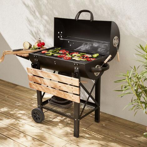 Barbecue americano a carbonella - Serge nero - Affumicatore americano con aeratori, raccogli cenere, fumatore - Nero