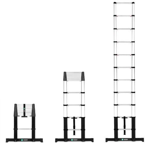 Échelle télescopique Professionnelle 3,2 m avec fermeture en douceur et barre transversale - Sûre et solide - EN131 et norme française