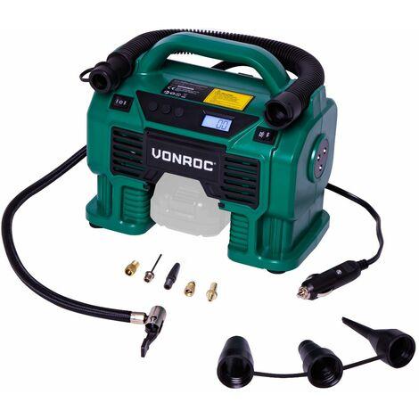 Compresseur à batterie 20V et prise allume-cigare 12V VPower – 8 Accessoires inclus (sans batterie, ni chargeur)
