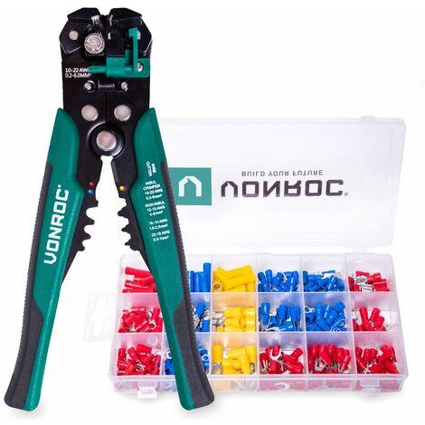 Pince à sertir automatique professionnelle - Pince à raccourcir et à isoler - Lot de 270 accessoires de cosses à sertir inclus