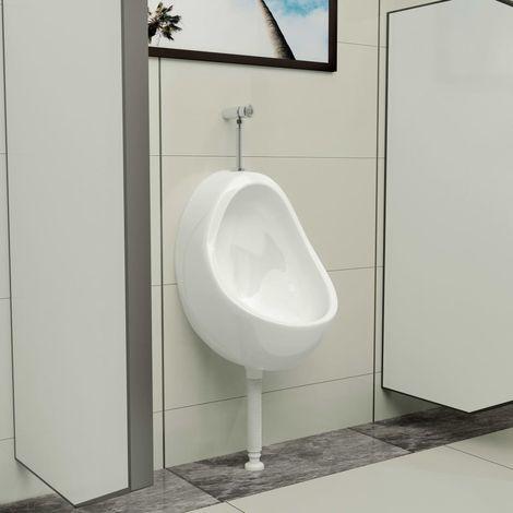 Urinoir suspendu avec valve de chasse d'eau Ceramique Blanc