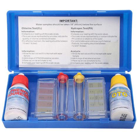 1 Set Ph Chlore Qualite De L'Eau Test Kit Hydrooutil Test Kit Accessoires Pour Piscine Whshopping