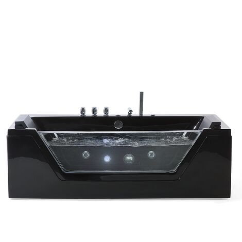 Baignoire balnéo 174 cm en acrylique noir avec LED SAMANA