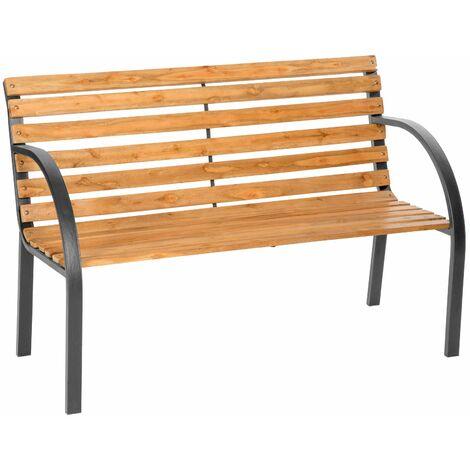 Garden bench Micha - wooden bench, wooden garden bench, outdoor bench - brown