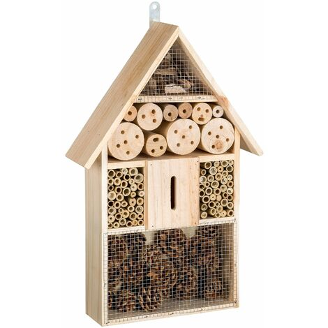 Bug hotel made of wood - insect house, insect hotel, minibeast hotel - brown