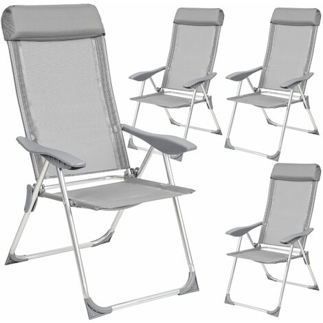 4 aluminium garden chairs with headrest - reclining garden chairs, garden recliners, outdoor chairs - grey