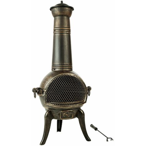 Fire pit with chimney made of cast iron - outdoor fire pit, backyard fire pit, patio fire pit - grey