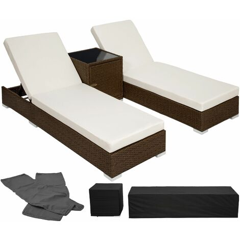 2 sunloungers + table with protective cover rattan aluminium - reclining sun lounger, garden lounge chair, sun chair