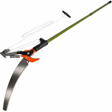 Tree pruner with cable and saw function - tree loppers, pruning saw, telescopic tree pruner - green