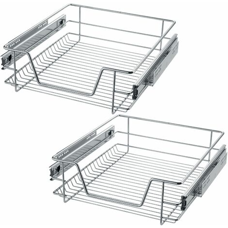 2 Sliding wire baskets with drawer slides - sliding wire basket, drawer slides, kitchen drawer runners