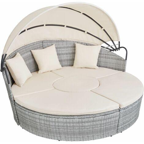 Rattan sun lounger island Santorini - garden lounge chair, sun chair, double sun lounger