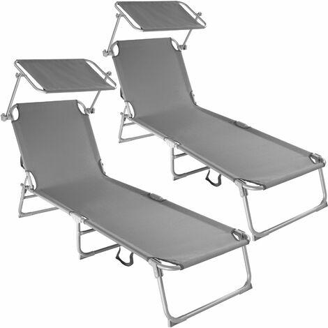 2 Sun loungers with sun shade - reclining sun lounger, sun chair, foldable sun lounger