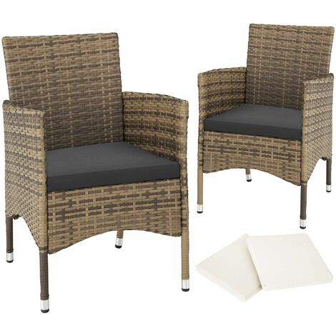 2 garden chairs rattan + 4 seat covers model 1 - outdoor chairs, rattan garden chairs, garden seating