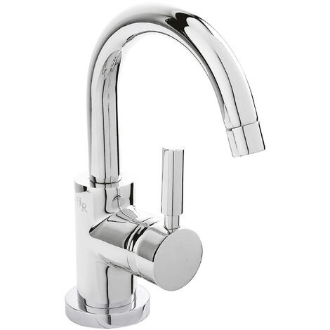 Hudson Reed PN386 Tec Lever ǀ Modern Bathroom Minimalist Side Action Lever Handle Cloakroom Mini Basin Mixer Tap with Push Button Waste, 215mm x 55mm, Chrome