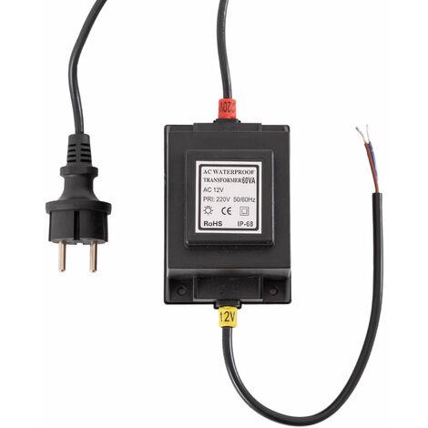 Transformateur LED 60W 230VAC/12VAC Submersible IP68 (PL21900060WIP68)