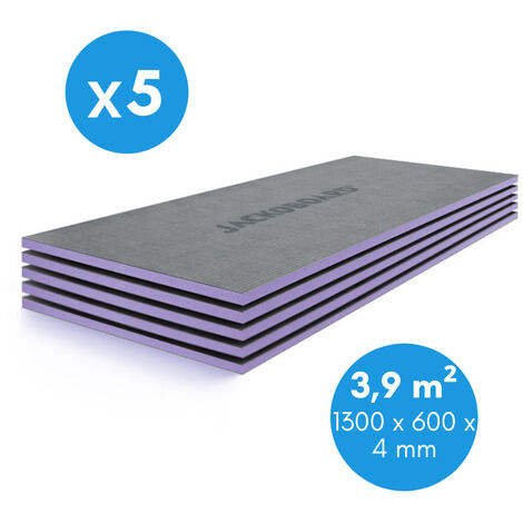 Jackon Plano 1300x600x4 mm Pack de 5 Panneaux à carreler isolants pour tout type de support, surface totale 3,9m² (4521941)
