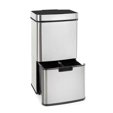 Klarstein Touchless Müllsammler Sensor 72L 4 Behälter ABS / PP / Edelstahl gebürstet