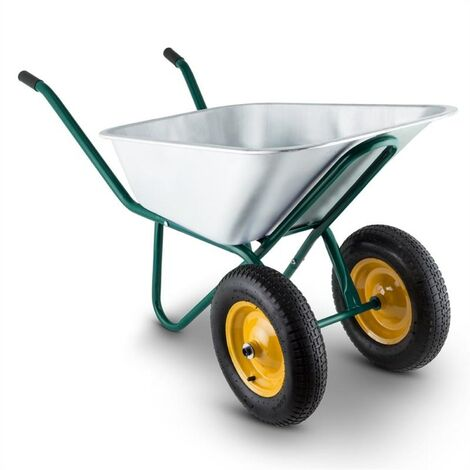Waldbeck Waldeck Heavyload Wheelbarrow 120l 320kg Garden Cart 2-Wheel Steel Green