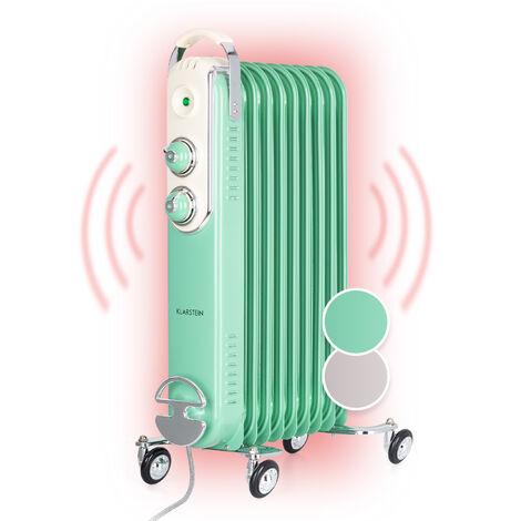 Klarstein Thermaxx Retroheat radiateur à bain d'huile 2000 W roulettes vert