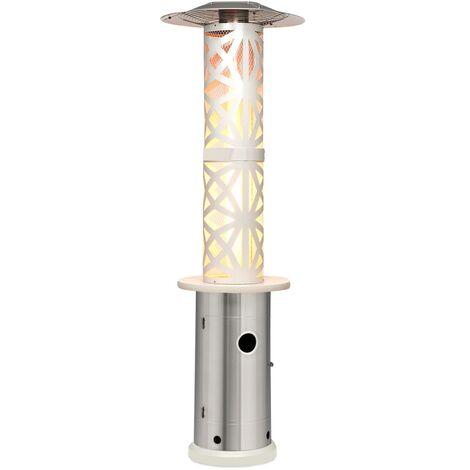 Goldflame Style radiateur de terrasse 11,2 kW vue 360 ° mobile argent