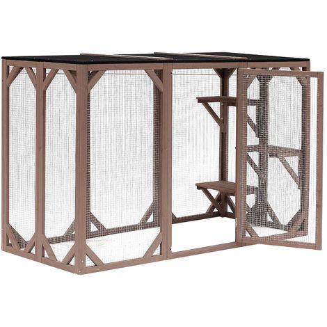 Wooden Outdoor Pet Playpen for Cats 180 x 80 x 111.8 cm with 3 Platforms