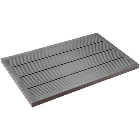 WPC Outdoor Shower Base Dark Grey Weather-resistant Floor Element with Non-skid Surface