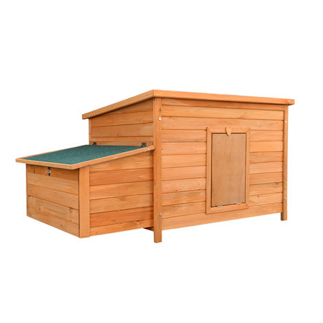 Chicken Coop with Nesting Box made of Red-Brown painted Wood 136x74x70cm