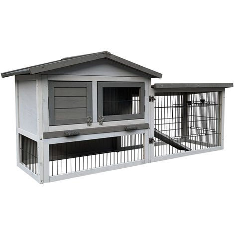 Chicken Coop with Nesting Box, Open Enclosure & Tray made of Pale Grey Wood 153.5x52.5x68.5cm