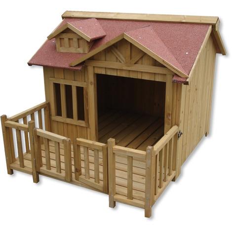 Luxury XL Dog Kennel Dog House Wood Balcony Garden Veranda Dog
