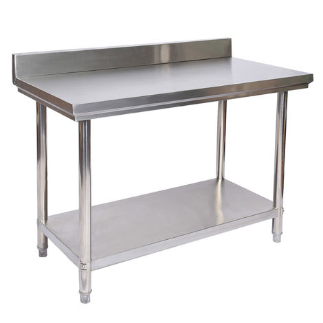 Stainless Steel Working Table with Back Panel 120x60x85 cm
