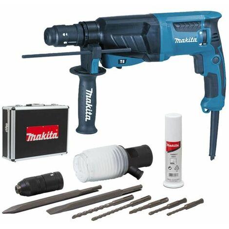 Perfo-burineur MAKITA SDS-Plus - 800W 26 mm + coffret alu + kit d'accessoires - HR2630TX4