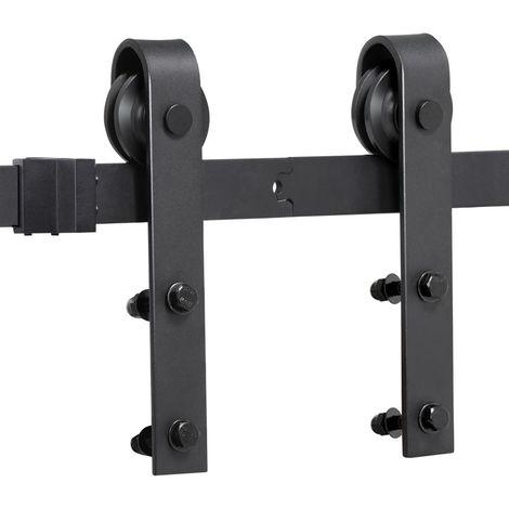 Yaheetech 200cm Schiebetürsystem Set Schiebetürbeschlag Zubehörteil für Holztüren inklusive Laufschiene