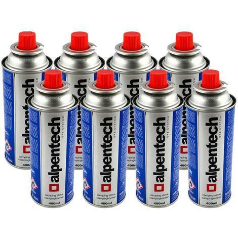 Pack de 8 cartouches gaz ALPENTECH 227g butane Bouteille de gaz UN2037 Bonbonne pour réchauds et désherbeurs thermiques