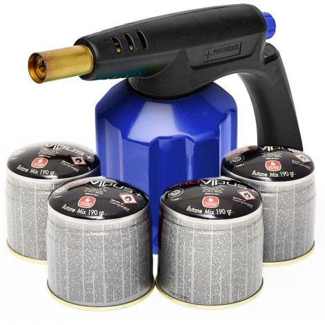 Lampe à souder coque acier PROVIDUS Allumage piezo + 4 cartouches gaz 190g Verrou sécurité stop gaz KIT PG900M