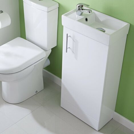 Minimalist 400mm White Gloss Floor Standing Cabinet & Basin - 1 Tap Hole