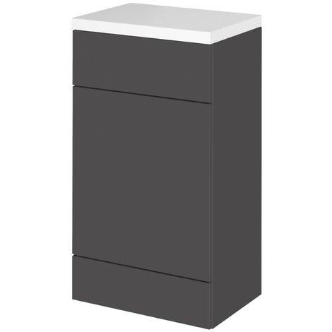 Hudson Reed Gloss Grey 600mm Slimline Toilet Unit with Polymarble Top - CBI919
