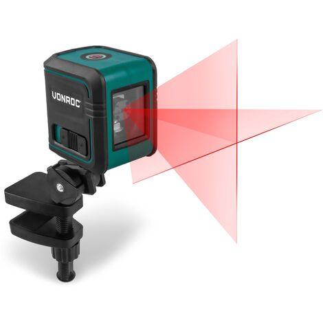 Láser de línea cruzada VONROC - Rojo - Autonivelante - 10 metros de alcance - Incluye barra de sujeción, bolsa de herramientas y baterías