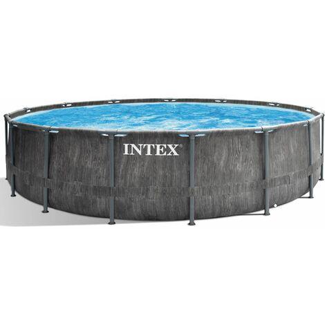 INTEX 457x122 Frame Swimming Pool Greywood Set mit Leiter Pumpe und Planen