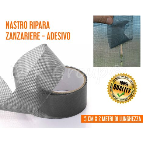 Nastro ADESIVO Ripara Zanzariere Zanzariera FIBRA DI VETRO Grigio 5x200 cm INSETTI