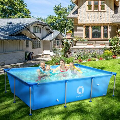 Rectangular Aufstellpool, Garten Pool mit Metallrahmen 300 x 207 x 65 cm, Grau